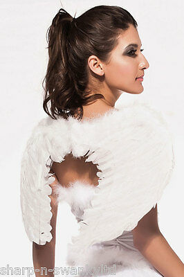 Real Fairy Costumes (Ladies White Real Feather Christmas Angel Fairy Wings Fancy Dress Costume)