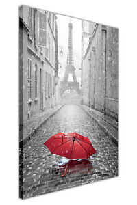 Black and white photo paris eiffel tower with red umbrella for Eiffel tower wall mural black and white