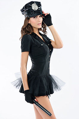 Bombshell Police Officer Cop Black Costume Cosplay Halloween Role Play 8638
