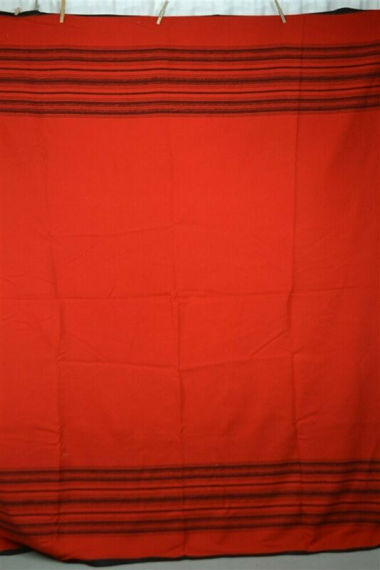 blanket wool red black stripe 68 x 82 lodge camp antique 1900