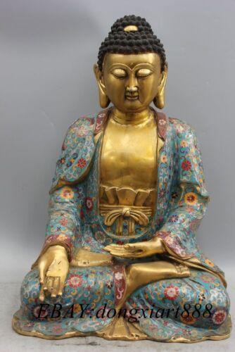 "20"" Tibet Cloisonne Enamel Bronze Gilt Shakyamuni Sakyamuni Amitabha Buddha Stat"