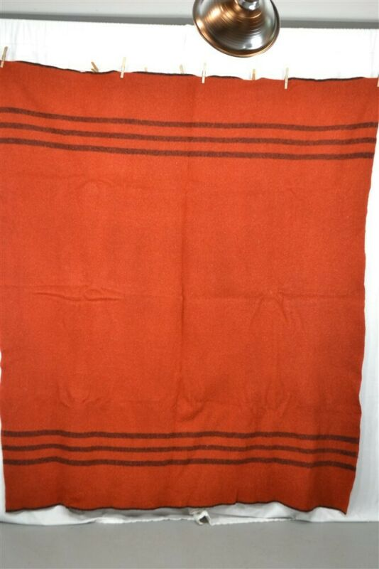 blanket wool rust black stripe 62 x 74 lodge camp  antique 1900