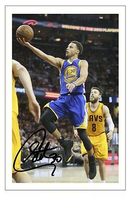 STEPHEN CURRY GOLDEN STATE WARRIORS AUTOGRAPH SIGNED PHOTO PRINT BASKETBALL