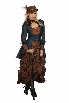 Steampunk Kleid Braun/Blau Damen Kostüm Burning Man viktorianisch (Viktorianisches Steampunk Kleid)