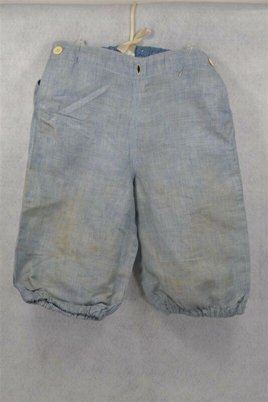 knee pants boy knickers cotton blue Victorian Edwardian waist 22 in antique 1890