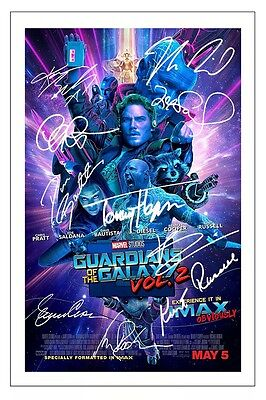 GUARDIANS OF THE GALAXY VOL 2 CAST SIGNED PHOTO PRINT AUTOGRAPH POSTER