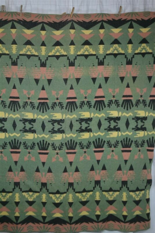 camp blanket lodge Indian design 56x72 in cotton pink green black 1940 antique