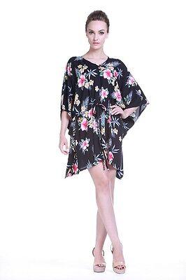 Poncho Dress Luau Tropical Cruise Hawaiian Tie Beach Plus Size Black - Plus Size Luau Dress