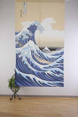 "Japanese Noren Doorway Curtain SHIRANAMI UKIYOE  34""x59"" 100% polyeste New Japan"