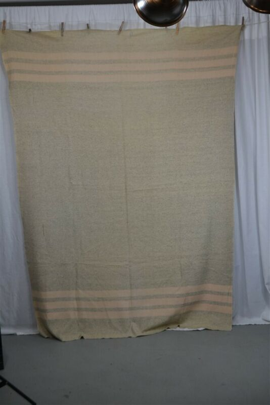 antique blanket wool gray pink white stripes camp reenactment 19th c 1800