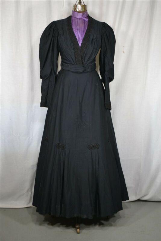 antique skirt jacket 2 pc walking suit Victorian black purple 1880 -1890 vg