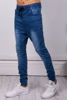 bronze snake EZRA DROP DENIM JOGGER SOFT BLUE  SIZE M SIZE 32