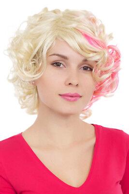 Perücke Damen Frauen lockig blond pink mix frech - Lockige Perücke Pink