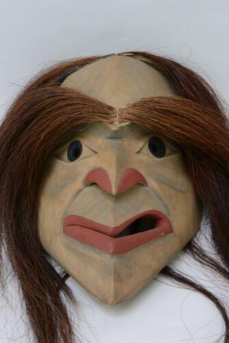 """Ridicule Mask by Art Thompson, Nitinat, BC; 11 1/2"""" x 8 1/4"""" plus hair"""