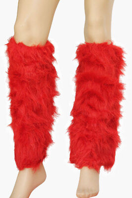 Sexy Faux Fur Furry Red Leg Warmers Boot Covers Go Go Fluffy Costume Clubwear