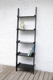 NEW Black Leaning/Ladder 5 Tier Wooden Bookcase