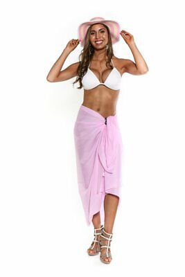 1 World Sarongs Swimsuit Cover-Up Light Weight Cotton Sarong in Light Pink Cotton Lightweight Cover Up