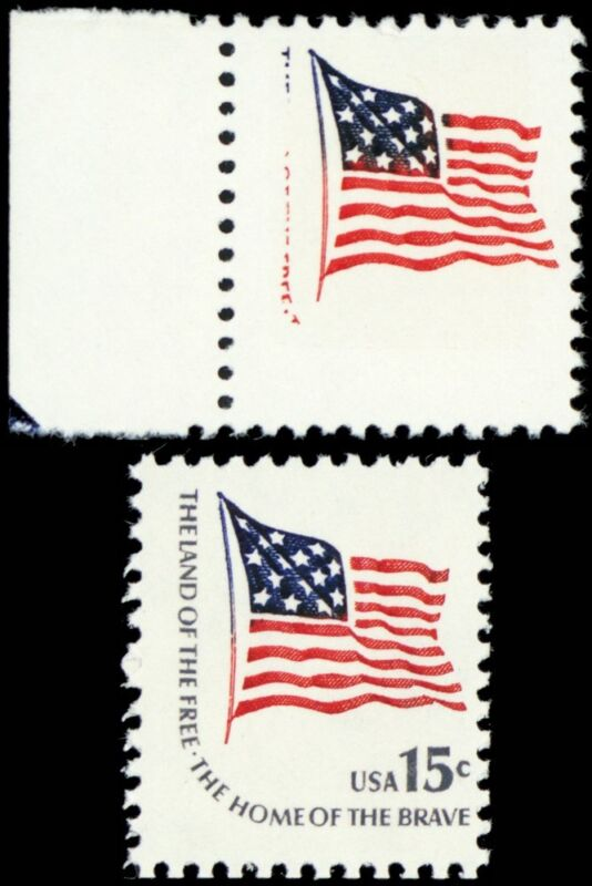 1597b, Mint Nh 15¢ Flag Stamp Gray Color Omitted Error With Normal - Stuart Katz