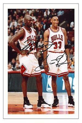 MICHAEL JORDAN & SCOTTIE PIPPEN CHICAGO BULLS SIGNED PHOTO PRINT BASKETBALL