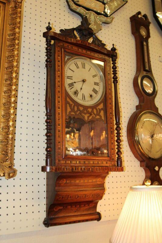 Gorgeous Victorian Satinwood Walnut English Wall Clock C1870s
