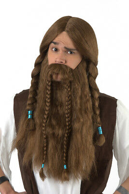 Viking Wig & Beard Set Brown Synthetic Hair Costume Disguise - Wig Set
