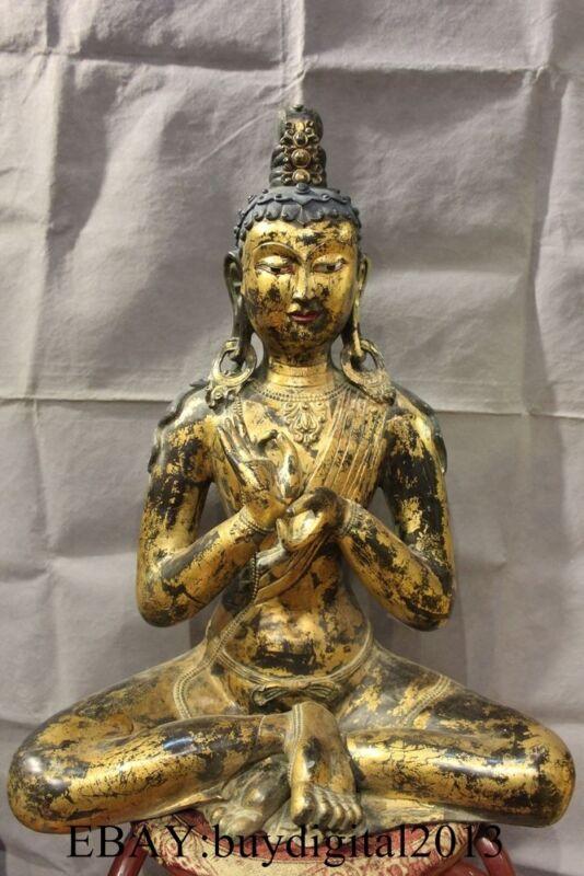 """21"""" Tibet Buddhism Temple Folk Bronze 24K Gold Green Tara Kwan-Yin Buddha Statue"""