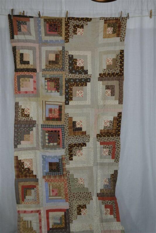 "early quilt piece 37 x 92"" patchwork log cabin top antique original 1850"