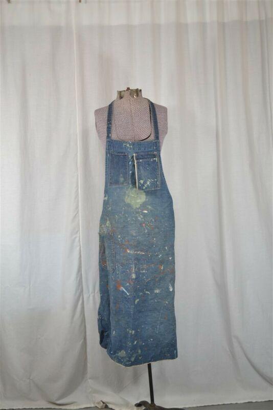 antique apron full bib unisex work denim paint spattered worn original artist