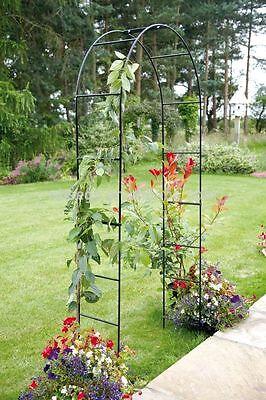 SELF ASSEMBLY BLACK GARDEN METAL ARCH FOR CLIMBING PLANTS ROSES GARDEN TRELLIS