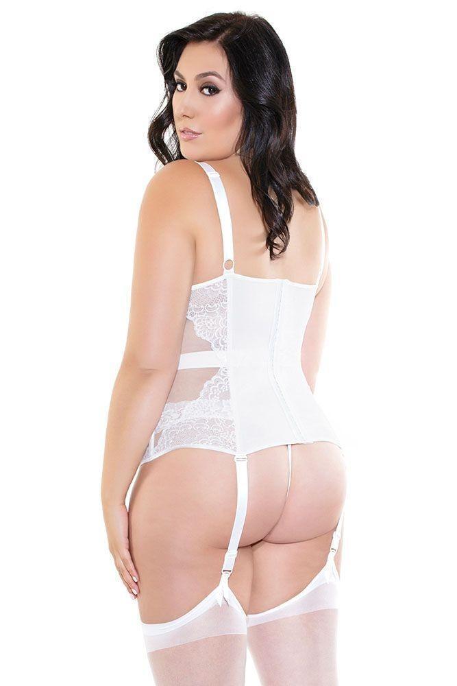 Elegant Spring Bridal Lace Bustier Sheer Sides Lingerie Adult Women ... 3f7fff373