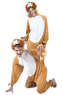 Lion Costume Adult Fancy Dress Animal Mens Ladies Funny Outfit Plush L XL NEW
