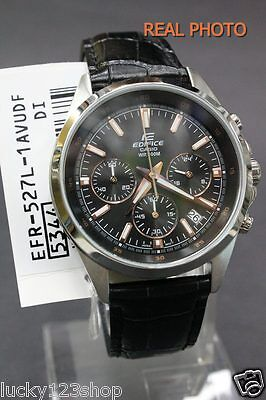 EFR-527L-1A Black Casio Men s Watches Edifice Chronograph 100M Date Leather  Band 9b4c43633d