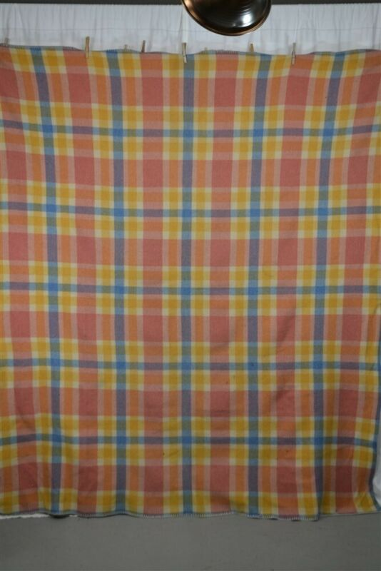 """blanket wool plaid pink blue yellow 66 x 80"""" lodge camp  antique 1900"""