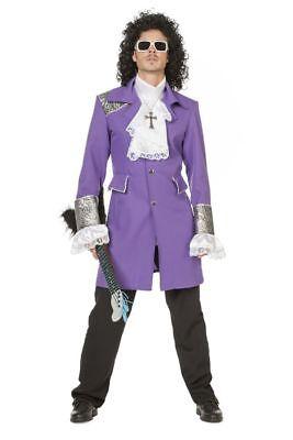 Herren Kostüm Purple Prince Deluxe Rain Mantel Hemd Jacke Topqualität - Top Prominente Kostüm