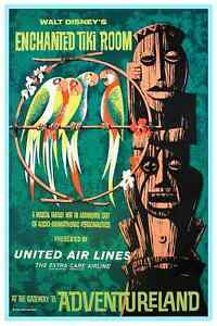 VINTAGE DISNEYLAND ENCHANTED TIKI ROOM POSTER 9 X 12