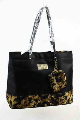 NEW * VERSACE Parfums TOTE BAG Black Gold Weekender Purse Handbag Travel Laptop