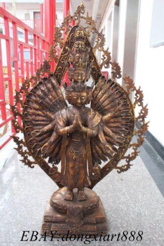 """39""""tibet Bronze gilt 1000 arms Avalokitesvara kwan-yin Bodhisattva buddha statue"""