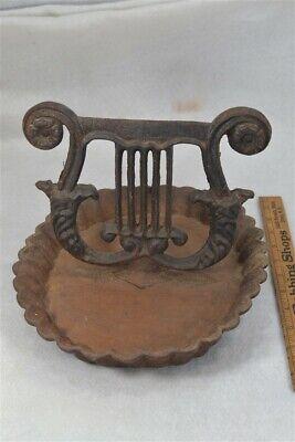 """cast iron  boot scraper Lyre mud pan bowl ACW 11"""" original antique 1800"""