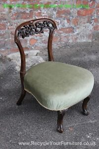 VICTORIAN LOW LADIES BEDROOM CHAIR WITH CARVED BACK