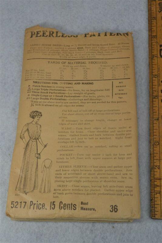 pattern Edwardian Ladies Peerless #5217 factory fold vg antique 1890