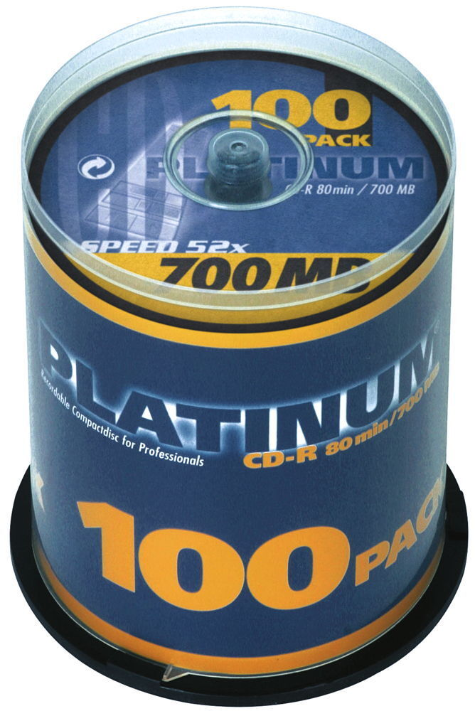 100 Platinum Rohlinge CD-R 80Min 700MB 52x Spindel