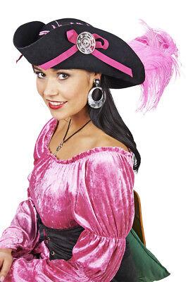 Dreispitz Piraten Hut mit Feder zum Piratin Kostüm Wollfilz Schwarz Pink %SALE%