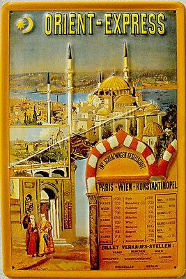 Orient-Express - Konstantinopel Blechschild, 20 x 30 cm, gewölbt & Motiv geprägt