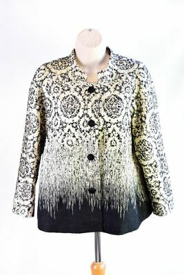 LAFAYETTE 148 Black And Ivory Polyester And Mohair Jacket, Size M