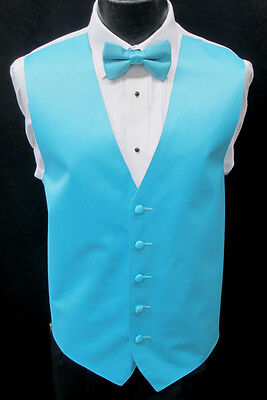 New Men's Aqua Blue Green Satin Fullback Tuxedo Vest & Bow Tie Set Wedding Prom ()