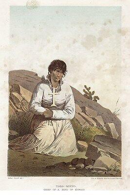 1857 Emory Print: Toro-Mucho Chief of a Band of Kioways (Original Colored Print)