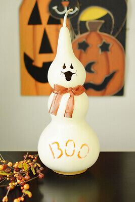 NEW Adorable Primitive Festive Halloween Tall JAKE The GHOST Light Up Gourd](Gourd Halloween Ghost)