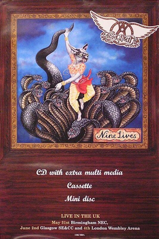 Aerosmith 1997 Nine Lives Original UK Tour Promo Poster