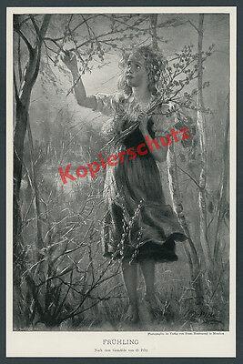 Otto Piltz blondes Mädchen Frühling Elfe Blüten Poesie Romantik Schönheit 1904