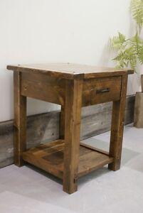 Rustic Solid Wood Side Table with Drawer $475 and More! By LIKEN Woodworks